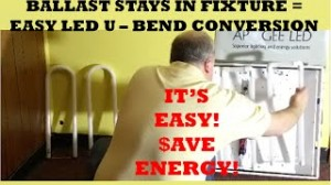 LED U Bend Retrofit Without Ballast Bypass 2x2 Conversion of Fluorescent U Bent